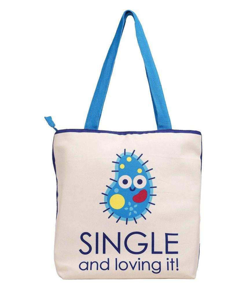 The Crazy Me Beige Canvas Tote Bag