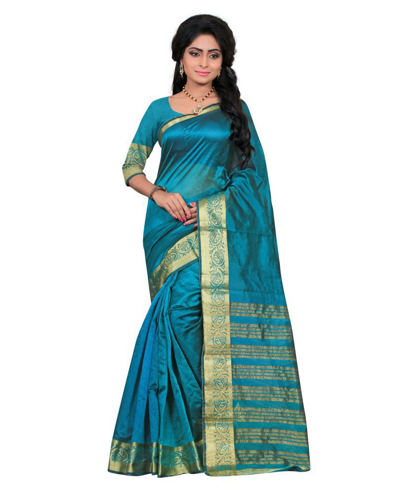 Ganga Shree Blue Art Silk Saree