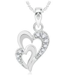 VK Jewels Double Heart Rhodium Plated Alloy Pendant for Women & Girls - P2128R [VKP2128R]