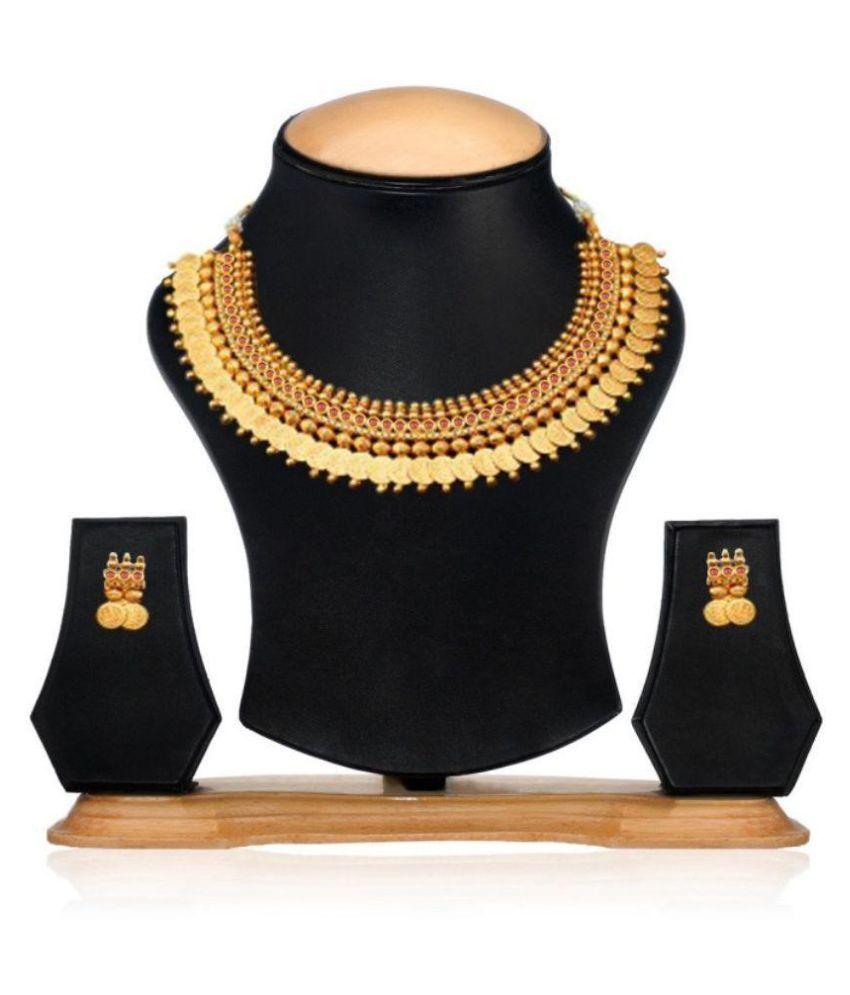 Jewels Guru Exclusive Golden Necklace Set