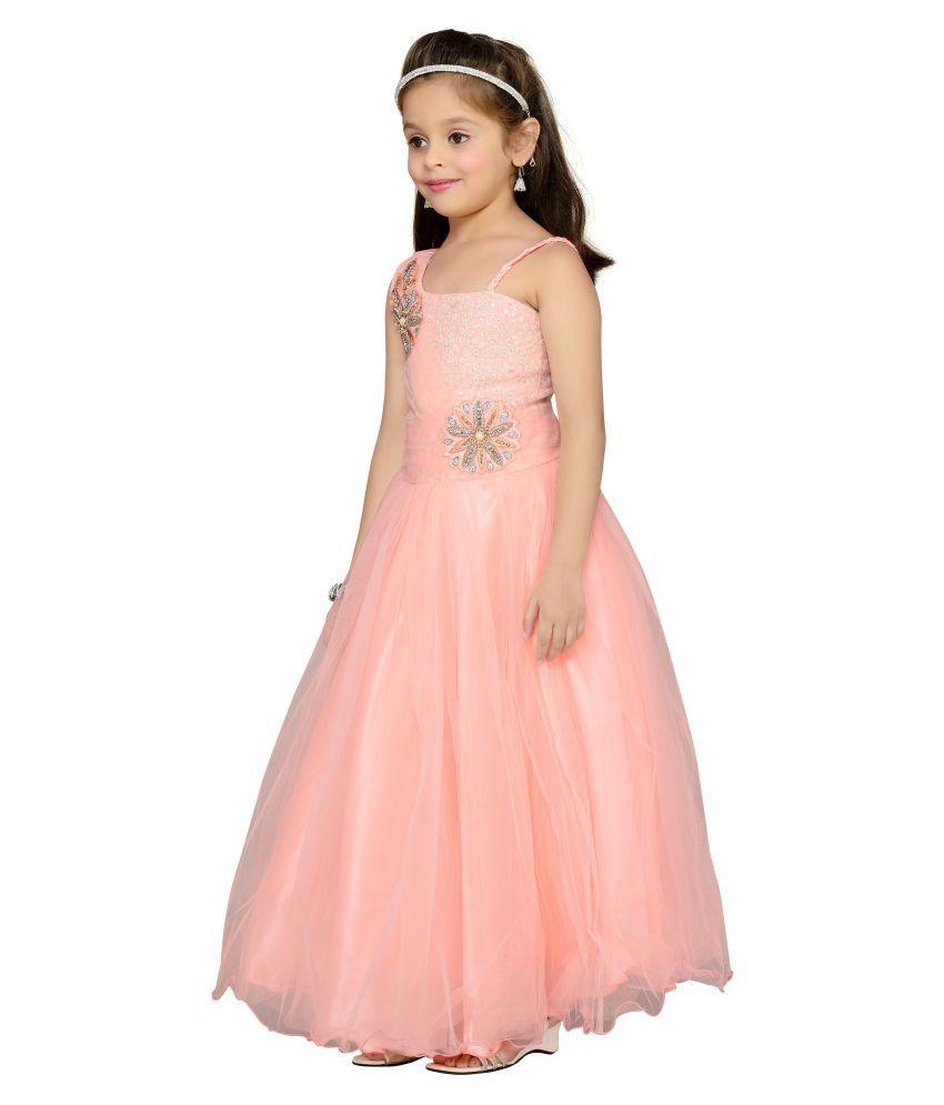 356b4136c6d Aarika Peach Net Ball Gown