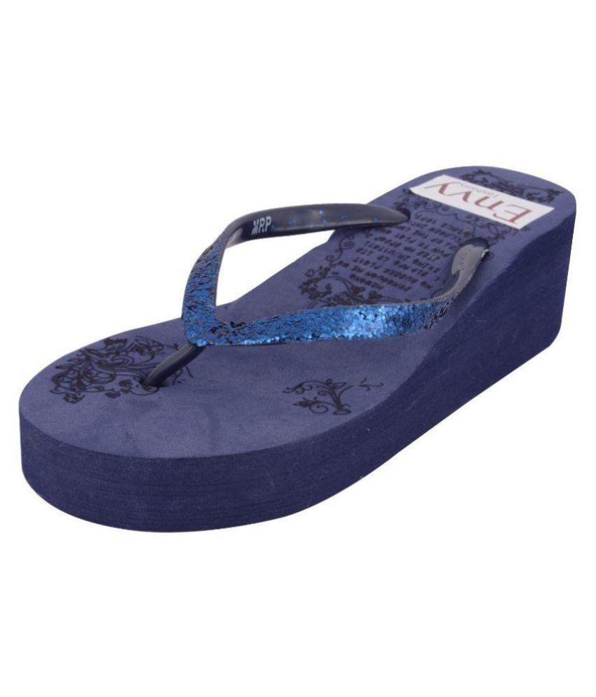 Envy Fashion Blue Slippers