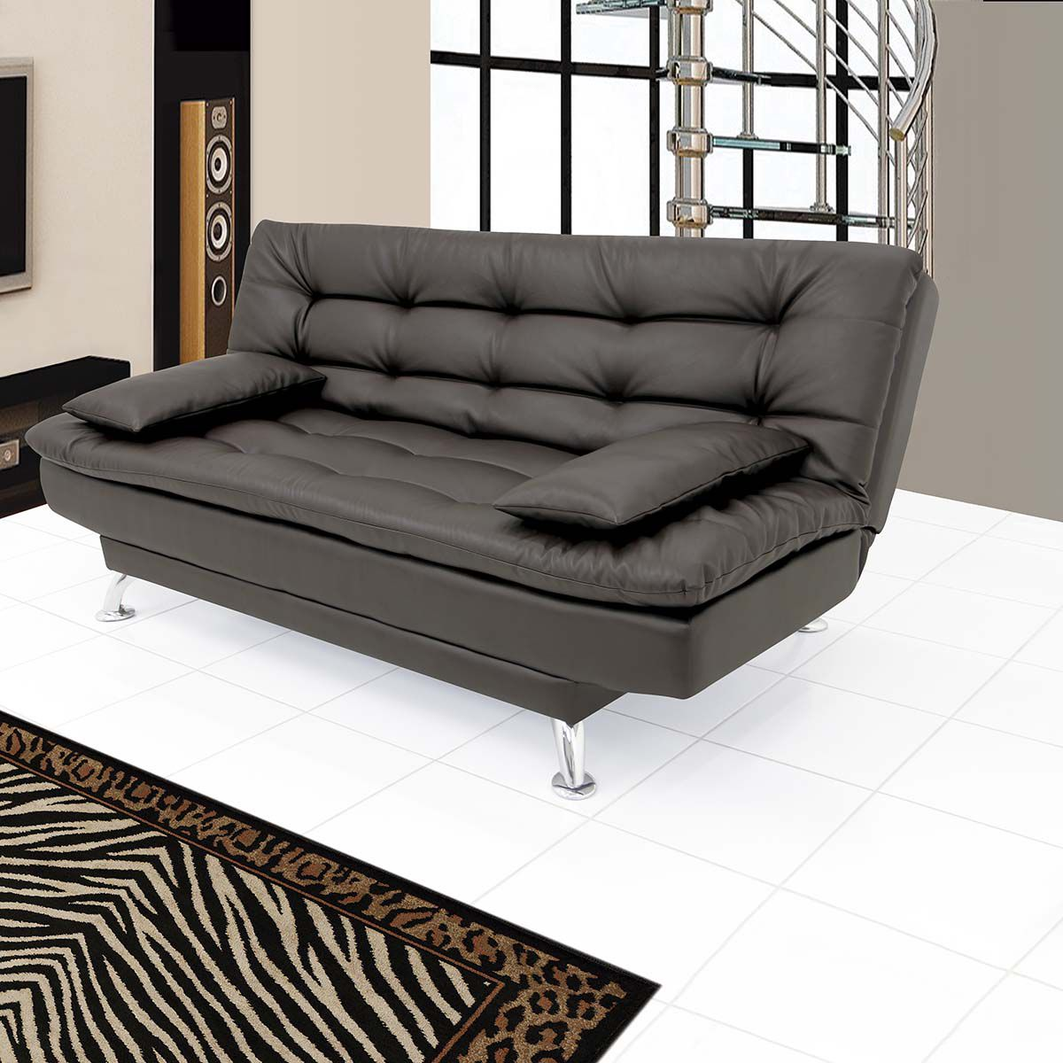 Supersoft Leatherette Sofa Cum Bed In Black