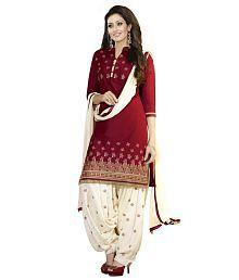 Soru Fashion Red Cotton Dress Material