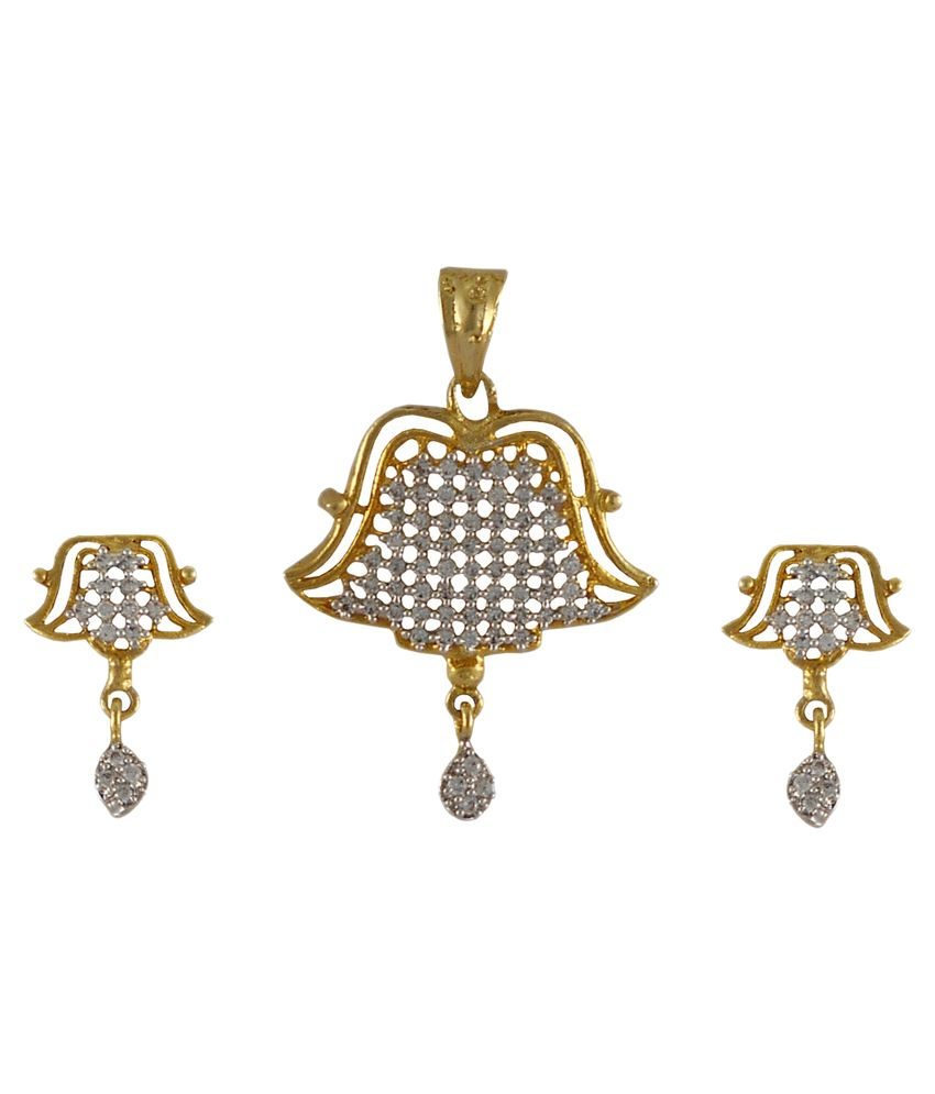 Rejewel 22K Gold Plated American Diamond Pendant Set