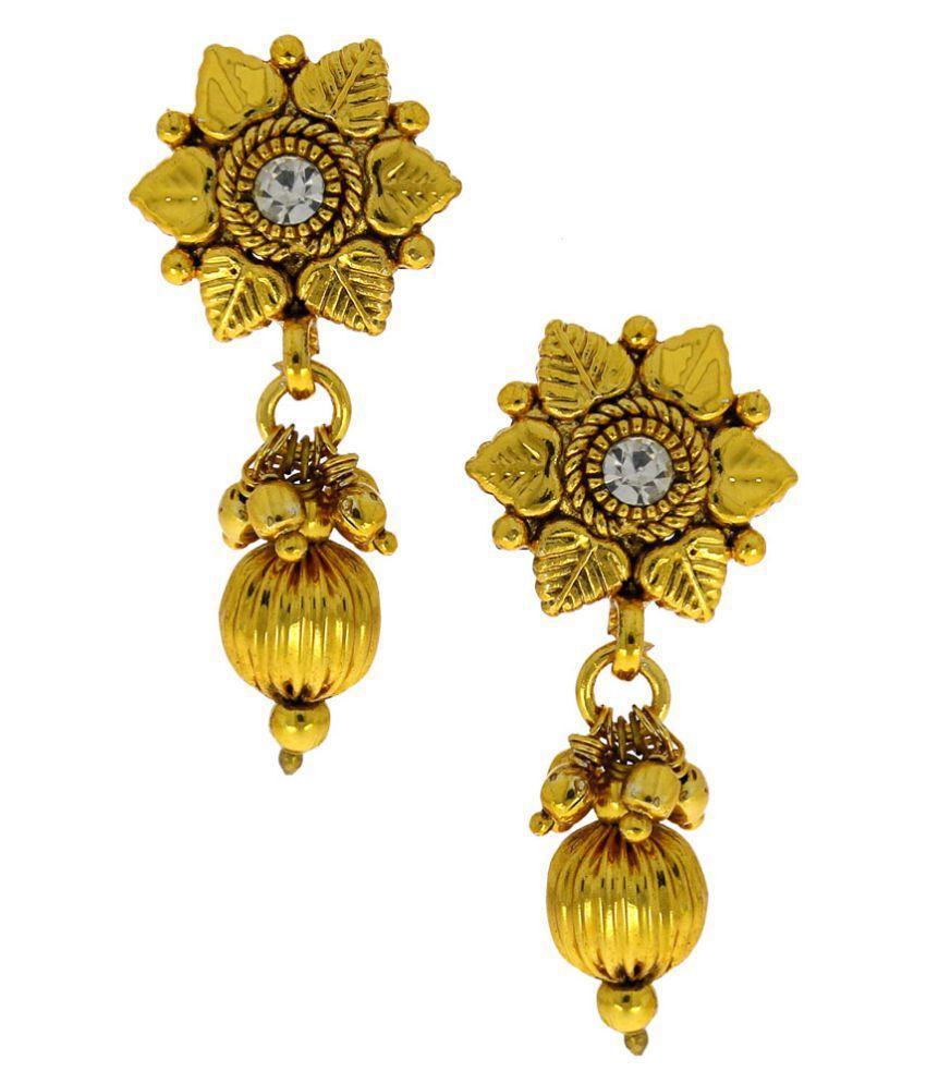 Anuradha Art Golden Colour Floral Design Beautiful Classy Danglesr Earrigns For Women/Girls