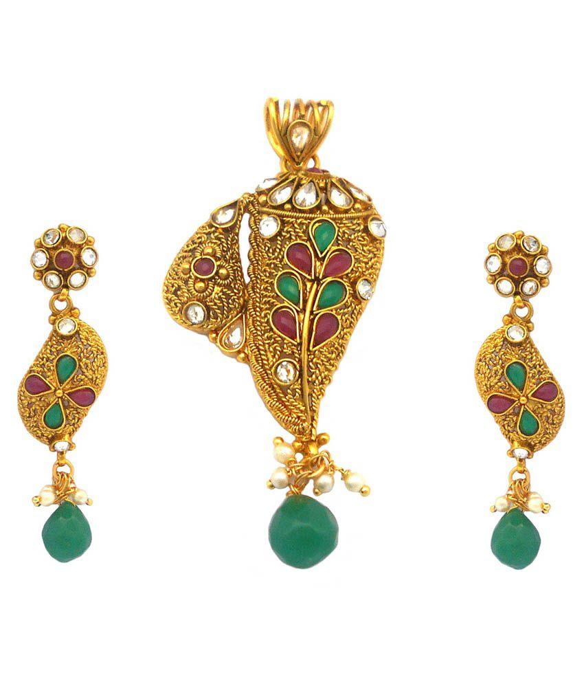 Rejewel 22k Gold Plated Antique Pendant Set For Women
