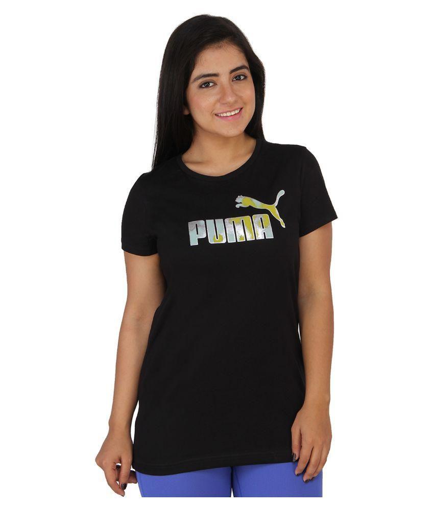 Puma Black Cotton T-Shirt for Women