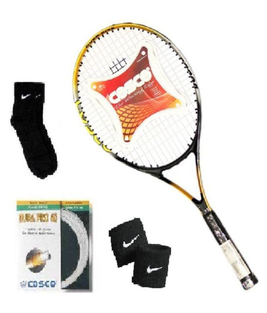 Combo of Cosco Action 2000D Tennis Racquet with Extra String (Dura Pro) & Pair of Socks & Wristband
