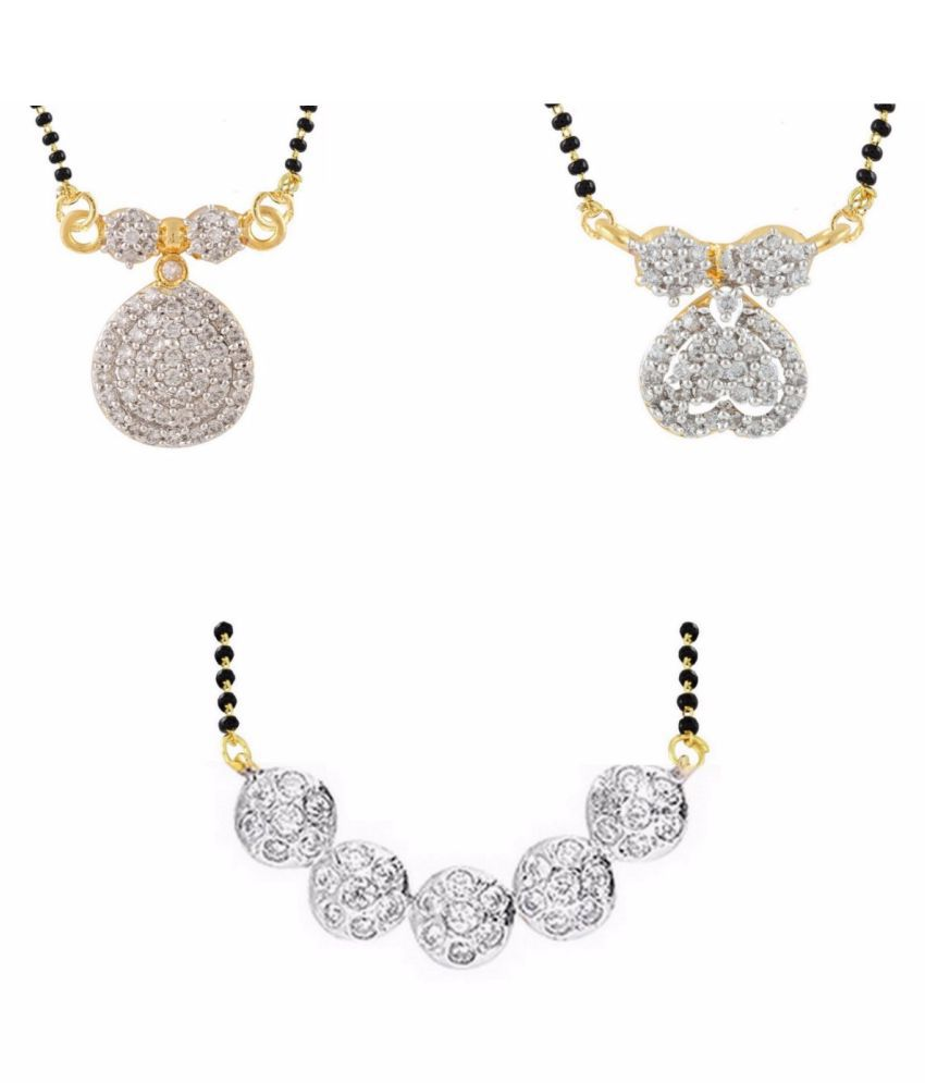 Archi Collection Pack of 3 CZ Mangalsutra for Women