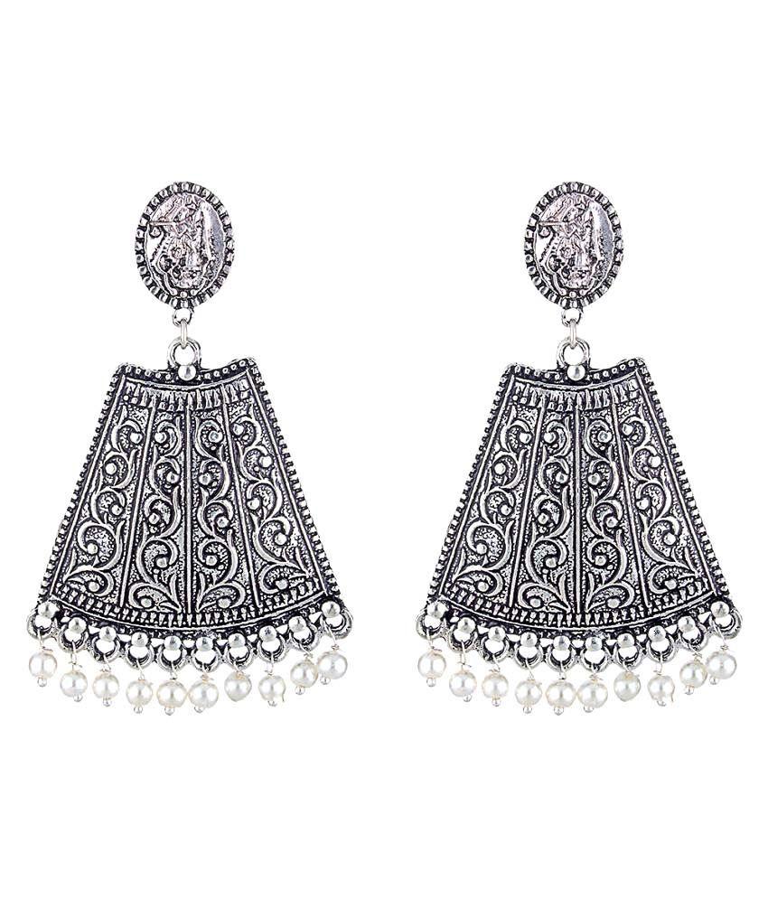 WM Silver German Silver Hanging Earrings