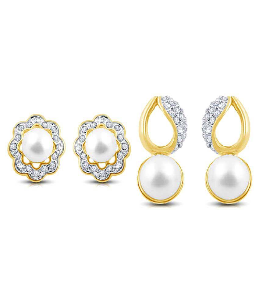 Shriya White Stud Earrings - Pair of 2