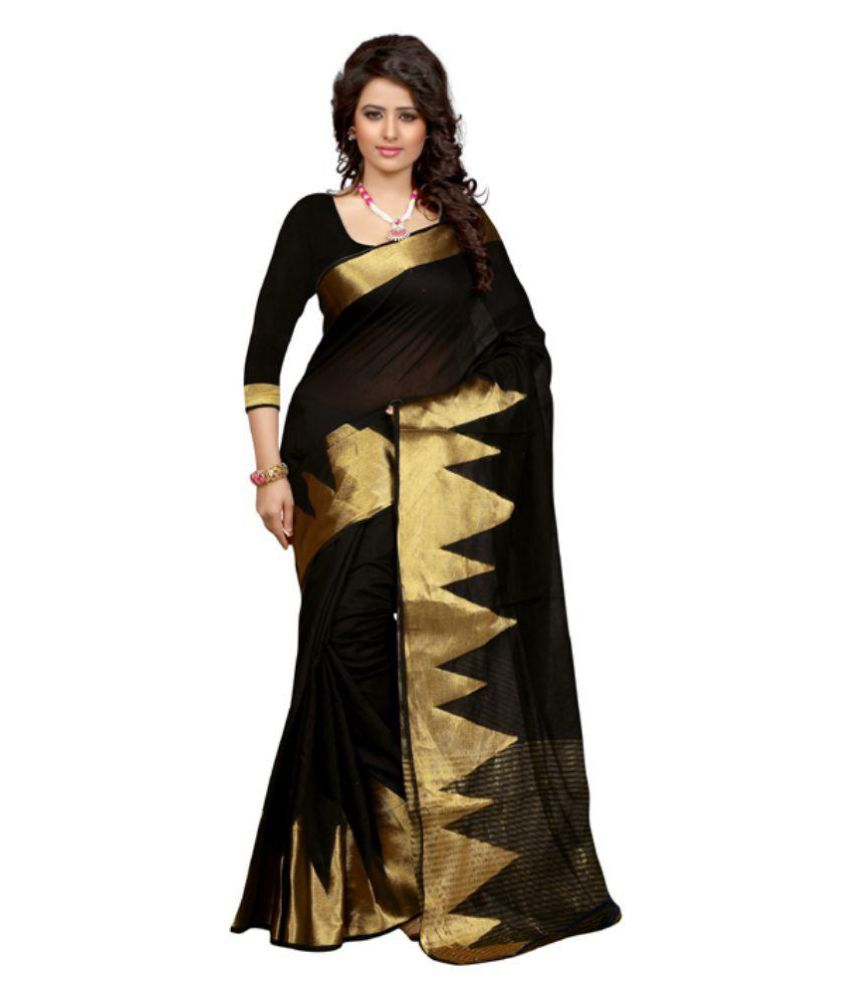 Poshak Mart Black Bangalore Silk Saree