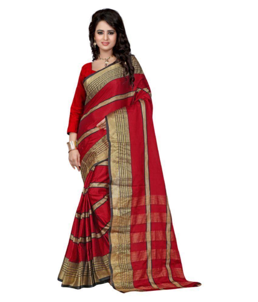 Poshak Mart Red Bangalore Silk Saree