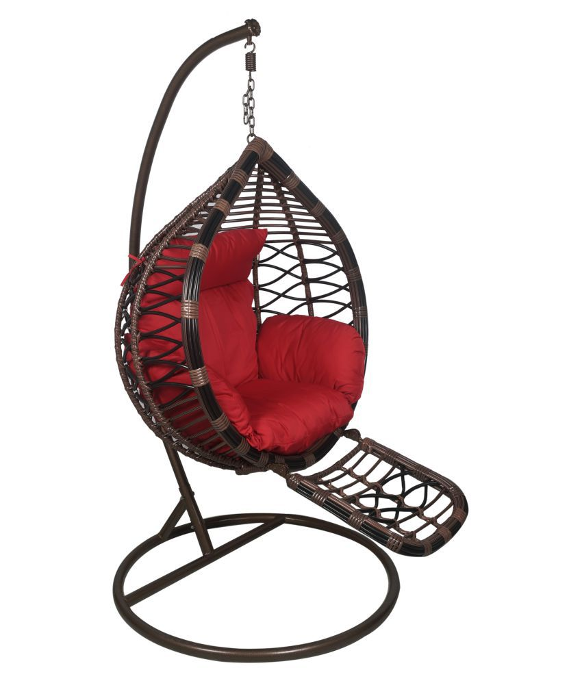 Outkraft Hanging Chair Swing With Adjustable Foot Rest Cushions Stand Black Brown Color Buy Outkraft Hanging Chair Swing With Adjustable Foot Rest Cushions Stand Black Brown Color Online At Best Prices