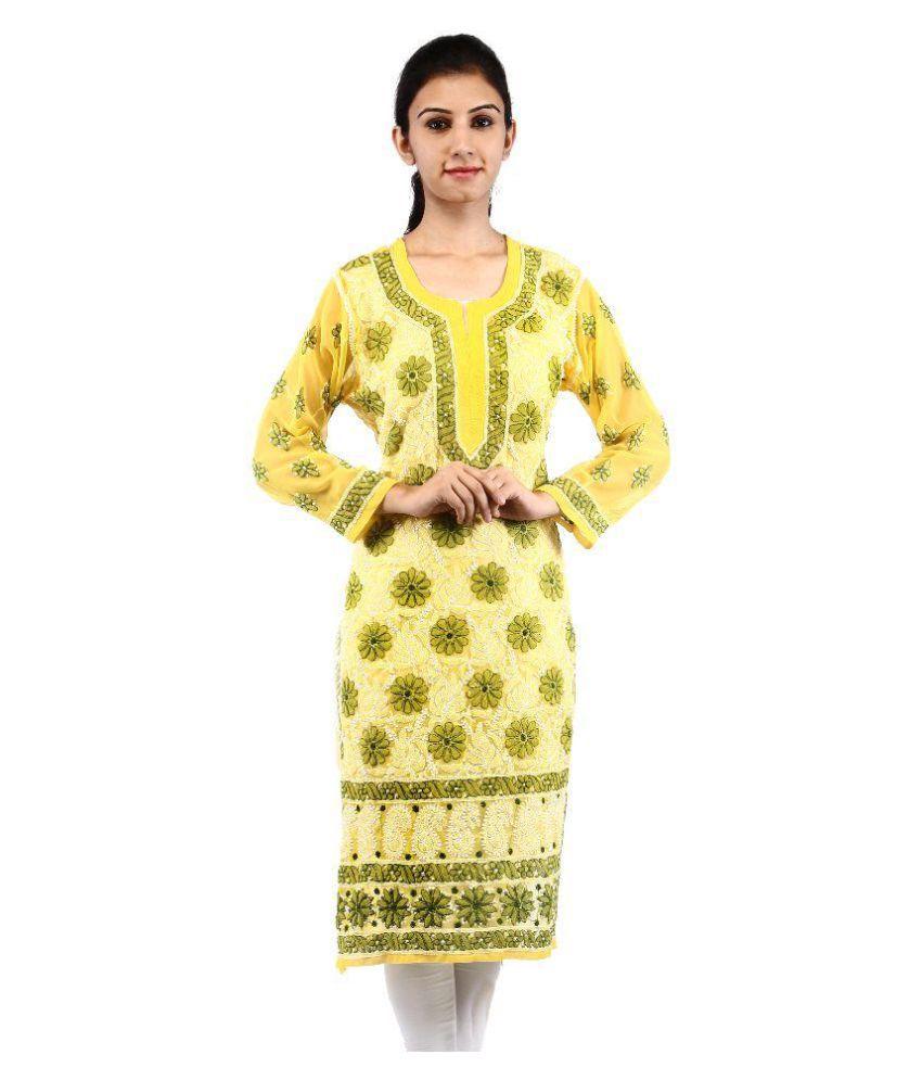 BDS Chikan Yellow Georgette Straight Lucknowi Chikankari Kurti