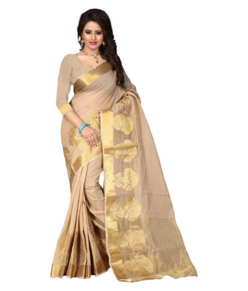 Poshak Mart Beige Bangalore Silk Saree