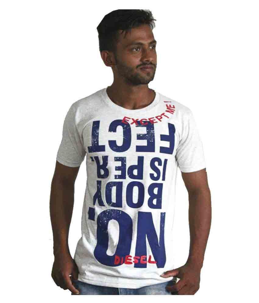 Shah Jeans White Round T-Shirt