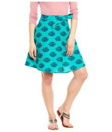 Very Me Turquoise Cotton Wrap Skirt