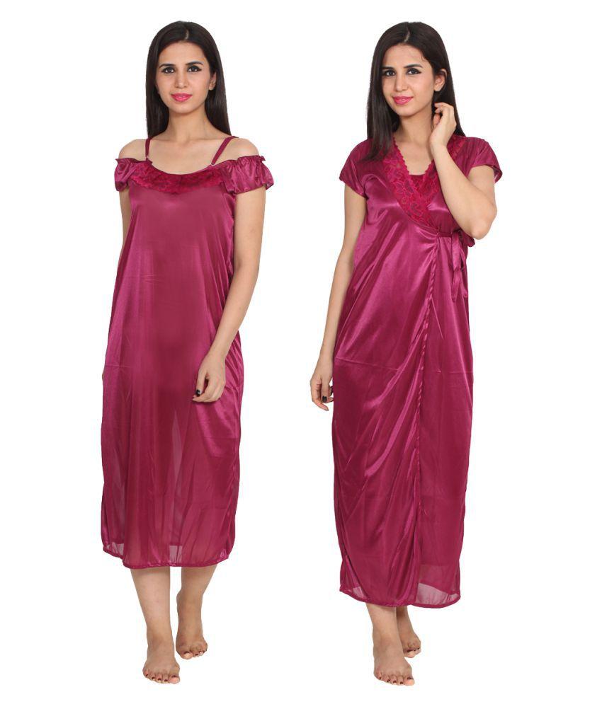 Ansh Fashion Wear Maroon Satin Nighty & Night Gowns
