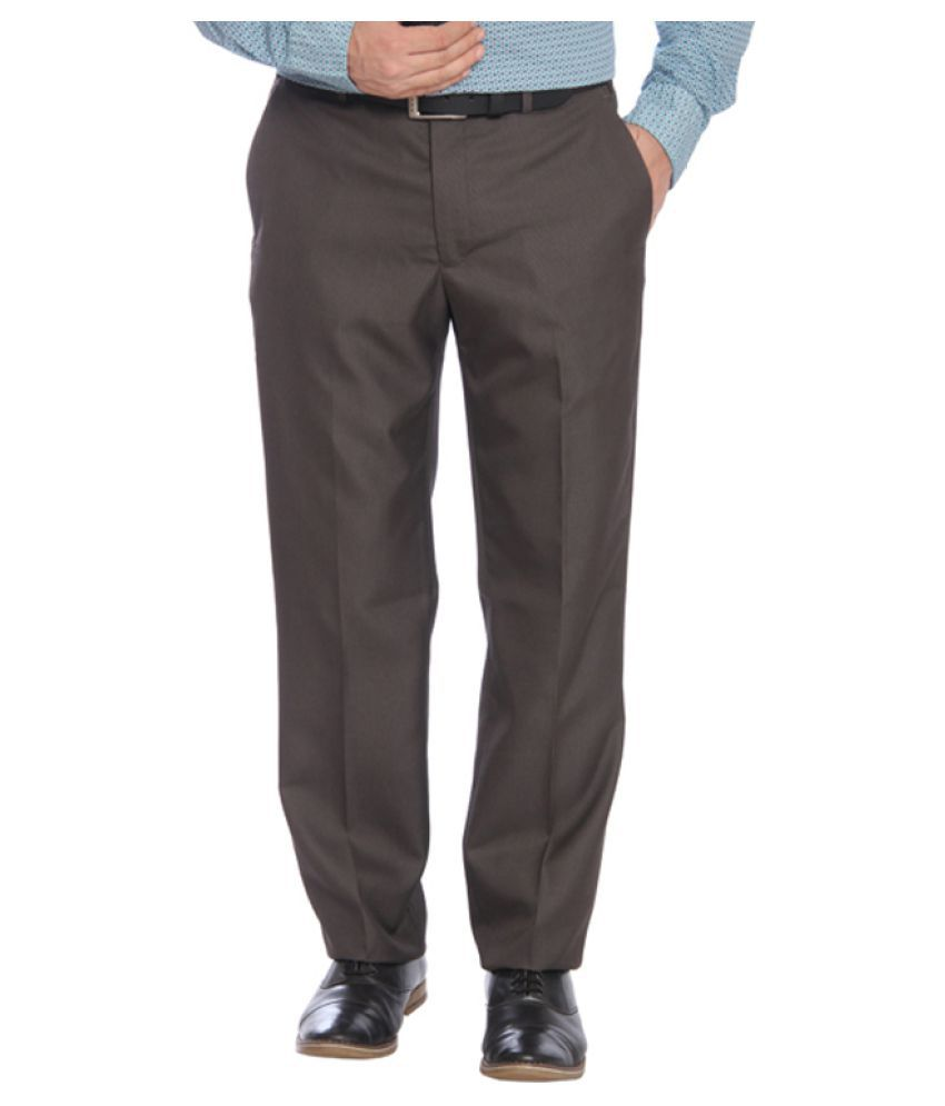 Park Avenue Grey Regular Pleated Trouser