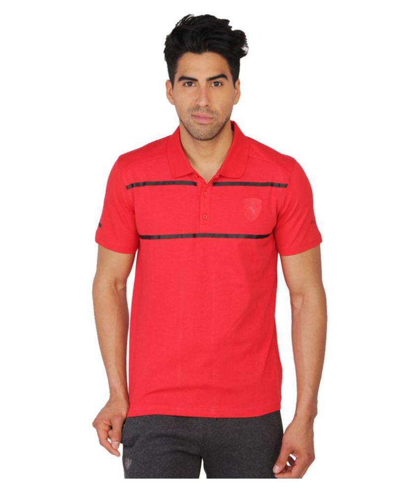 Puma Mens Red Solid T-shirt