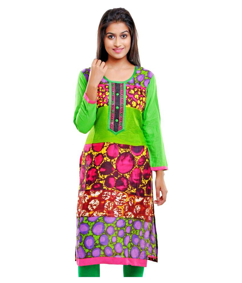Aamii Multicoloured Cotton Straight Kurti