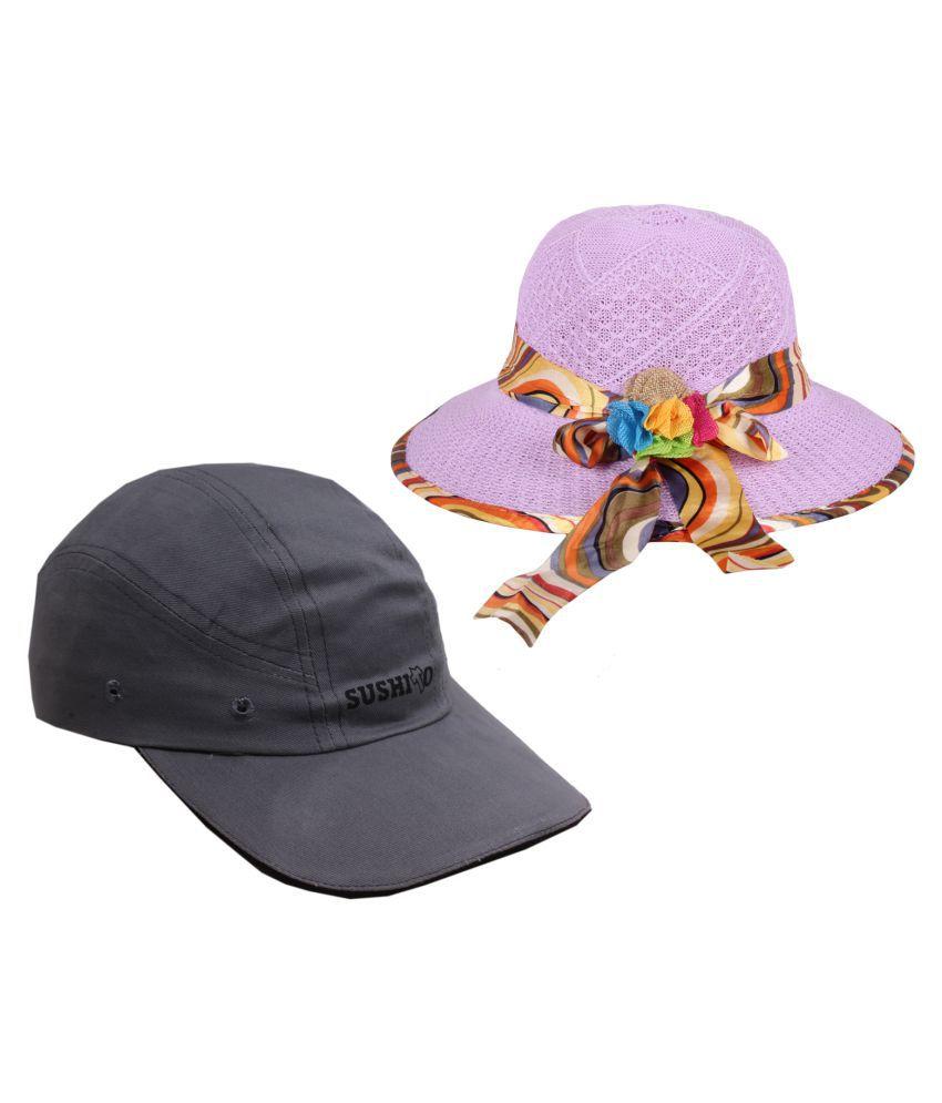 Jstarmart Purple Printed Polyester Hats