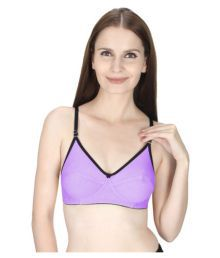 Vloria Purple Cotton Lycra T-Shirt/ Seamless Bra