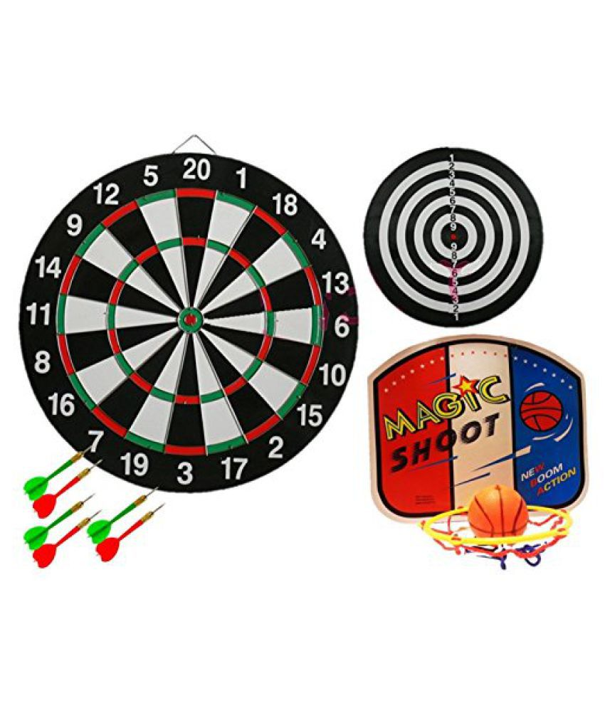 2 Item Bundle - Dartboard Bulls Eye Set with 6 Darts and Basketball Game Set (3 Green 3 Red Darts -
