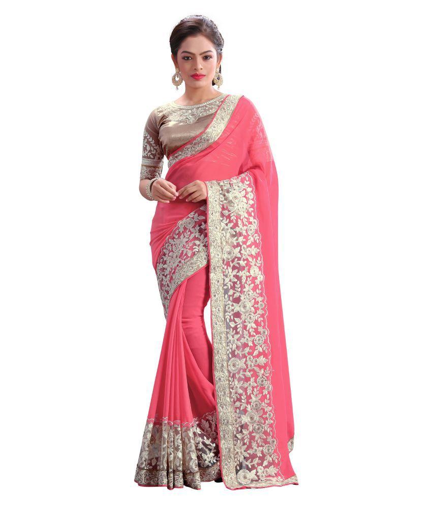 New Designer Saree Pink Georgette Saree