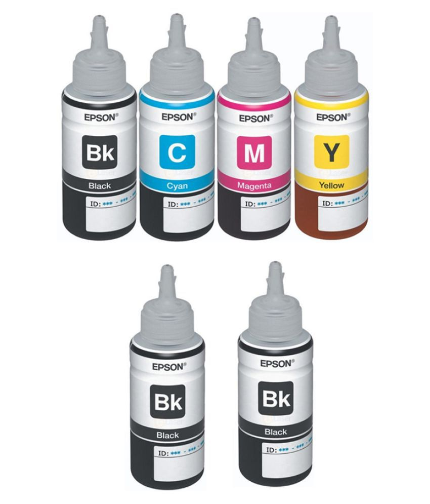 Epson Ink All Colors with 2 Black Extra  (T6641-B,T6642-C,T6643-M,T6644-Y) 70 Ml