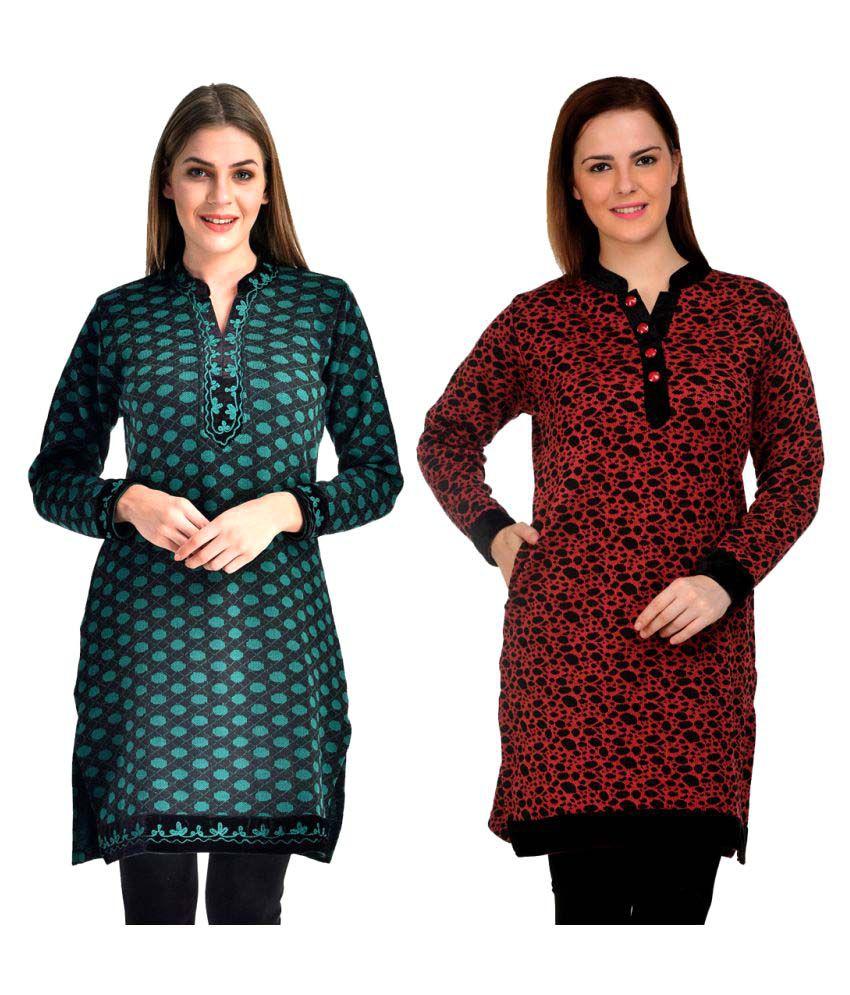 Rakshita's Collection Multicoloured Woollen Straight Kurti