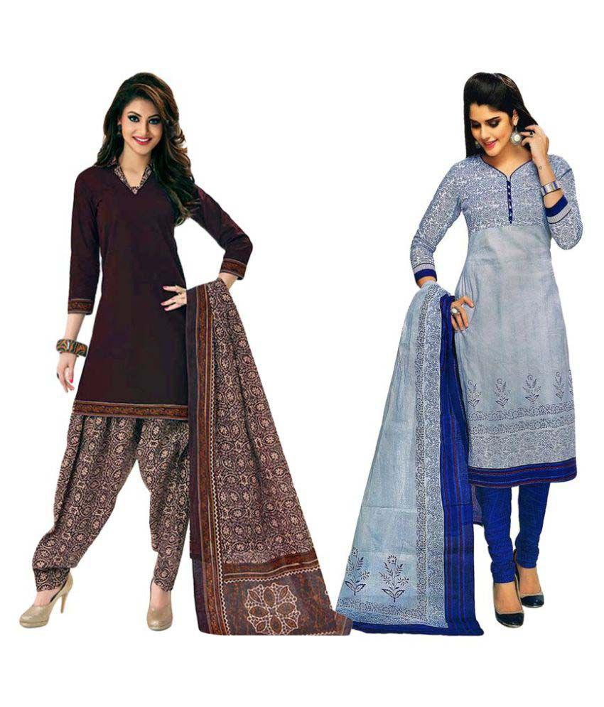 Javuli Multicoloured Cotton Dress Material