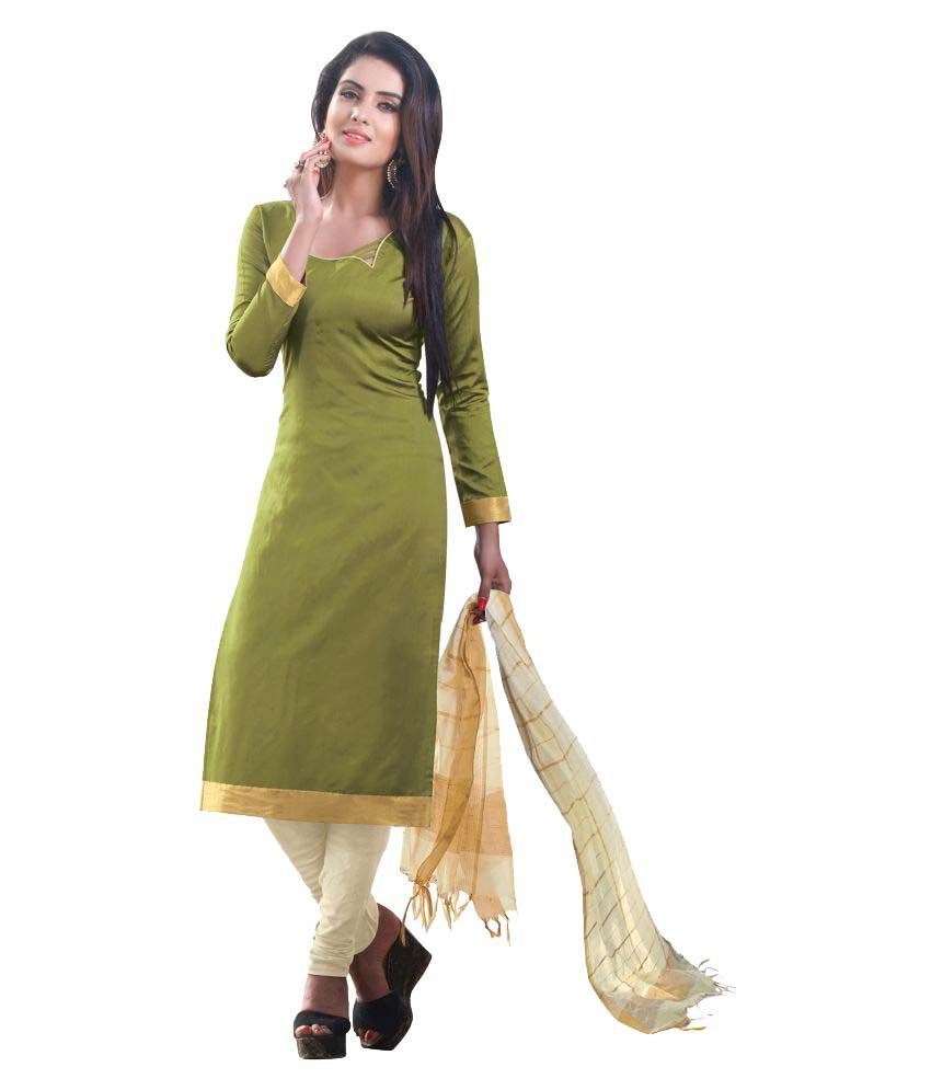 Latest Fancy Designer Green South Silk Dress Material