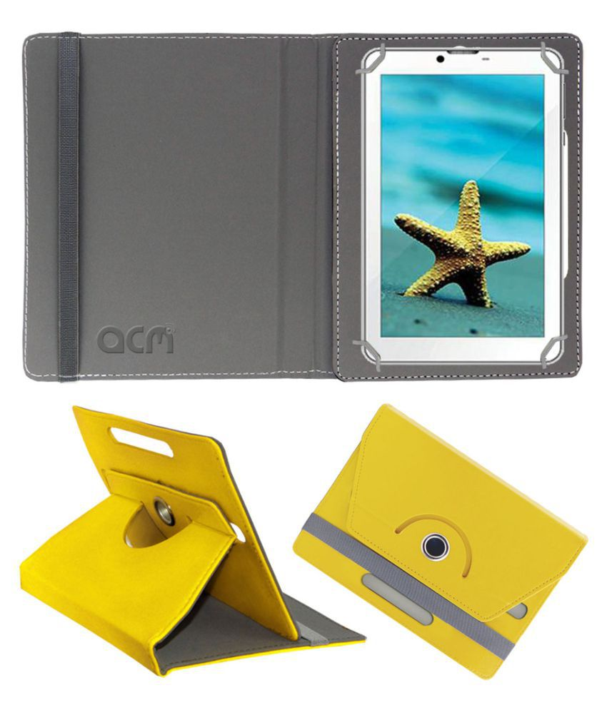 Videocon V-Tab Ace Pro Flip Cover By Acm Yellow