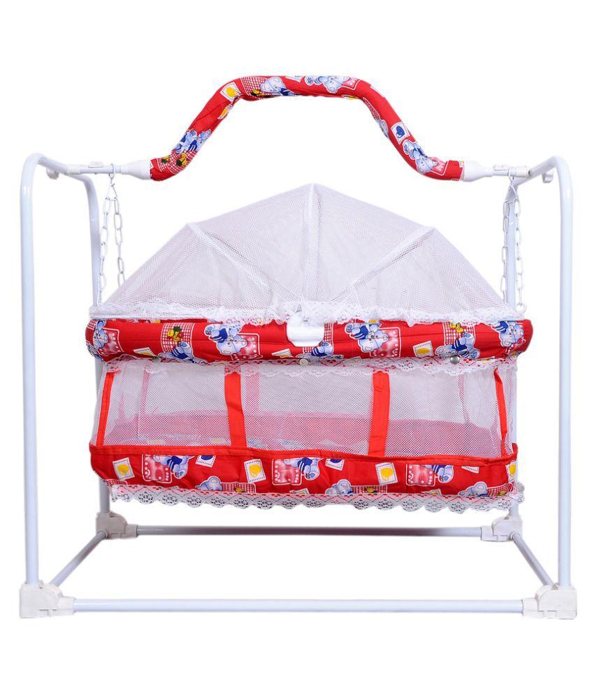 Babygo Multi Baby Cradle Cot Cum Mobile Swing (Red)