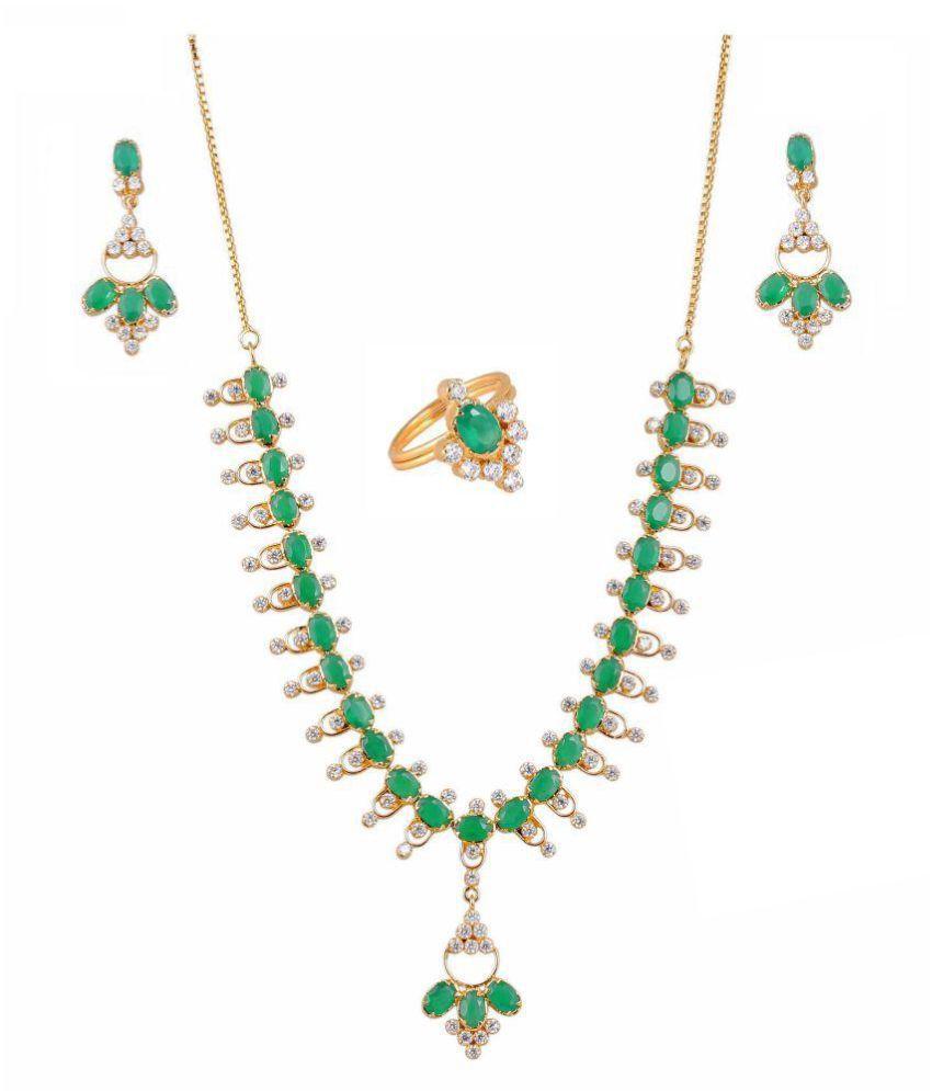 Vinayak Graceful Necklace Set ( Green Onyx )