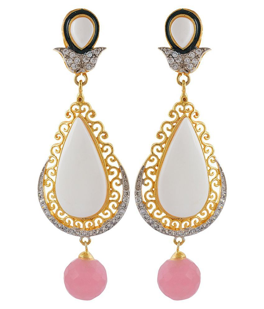 Dls Jewellery Multicolour Brass Hanging Earrings