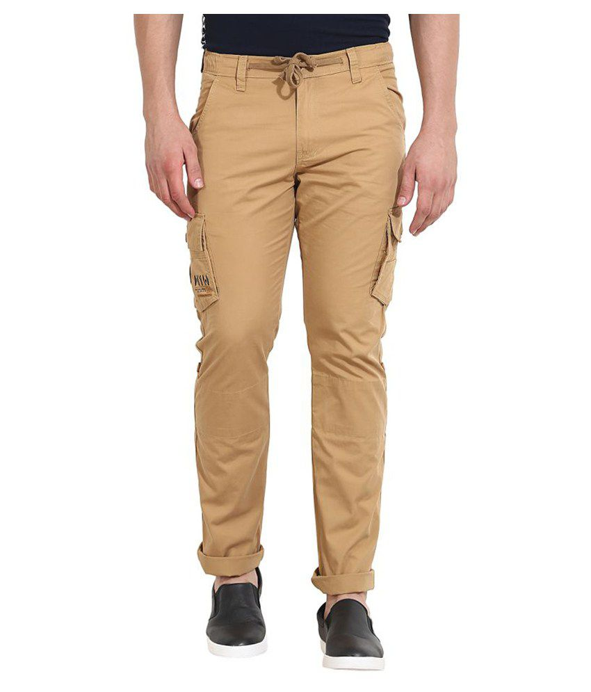 Wear Your Mind Beige Regular Flat Trouser