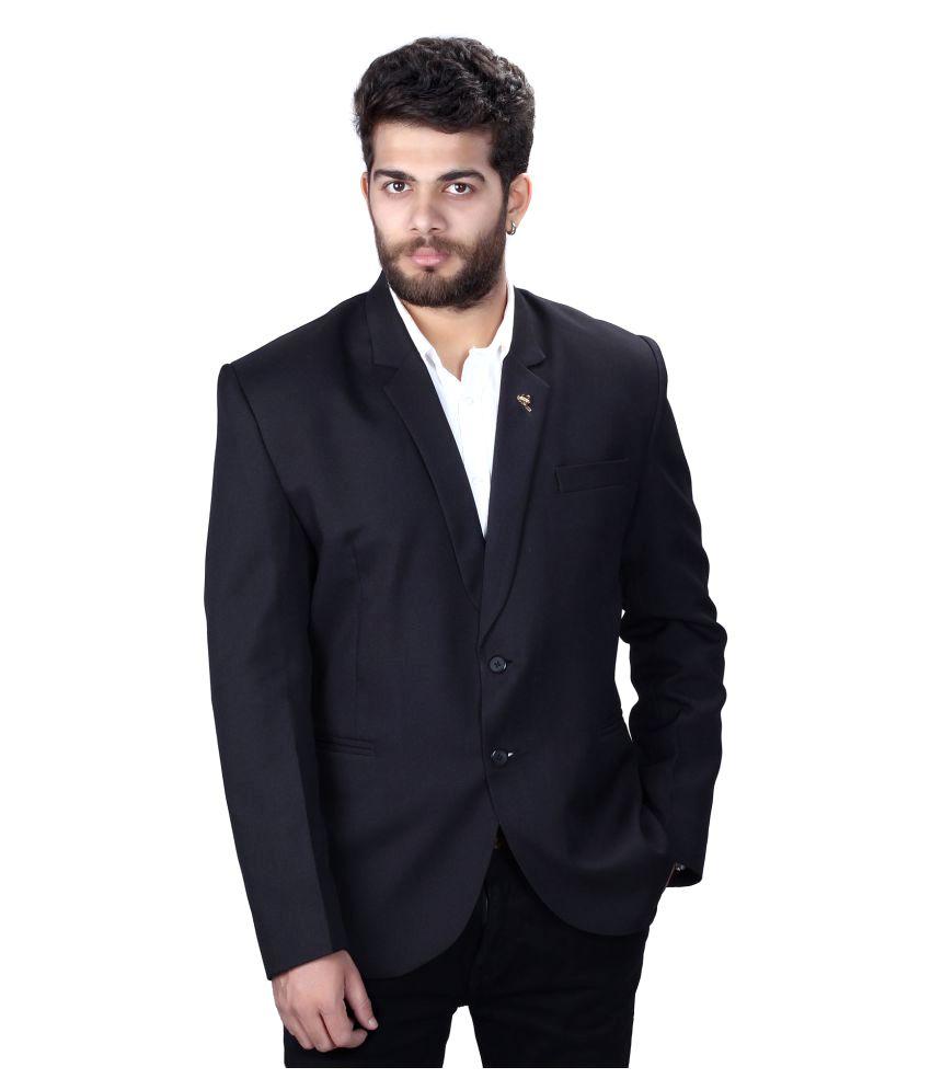 Mark Estilo Black Plain Formal Blazers