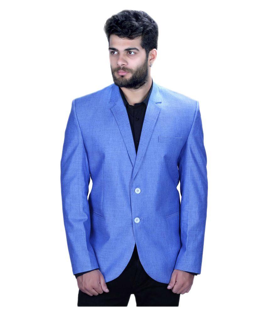 Mark Estilo Blue Plain Casual Blazers