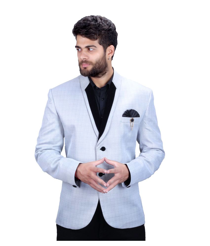 Mark Estilo Grey Plain Party Blazers