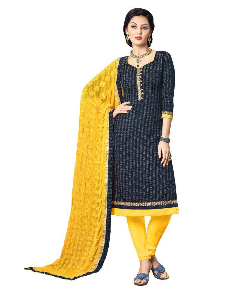 WalkNShop Black Bhagalpuri Cotton Dress Material