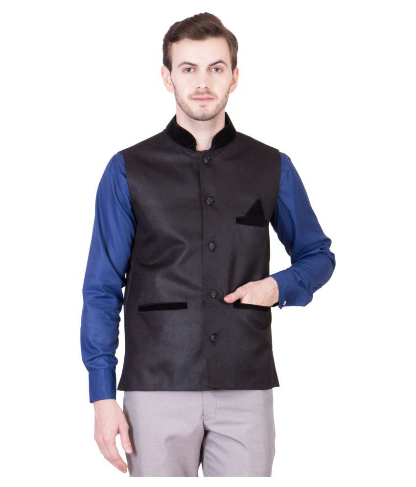 PSK Black Solid Formal Blazers