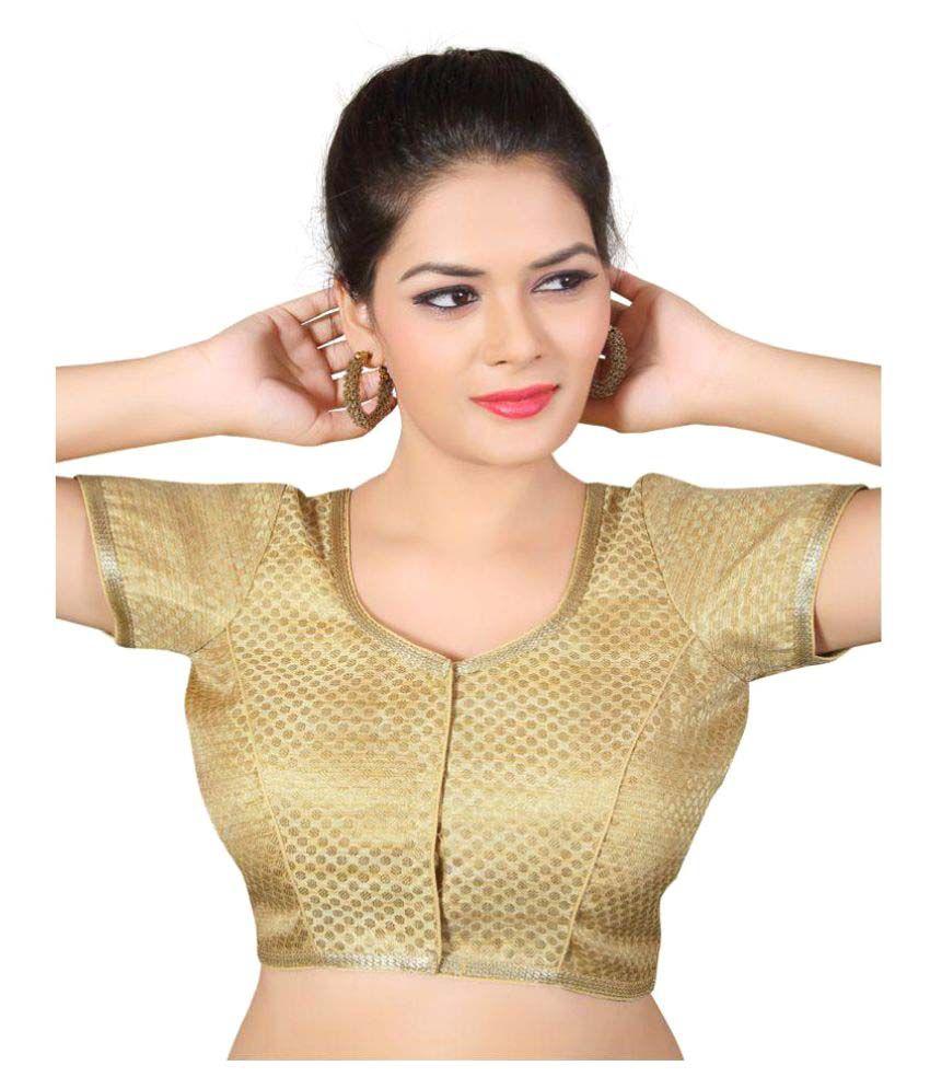 Atulya Designer Blouse Gold Square Shape Back Blouse