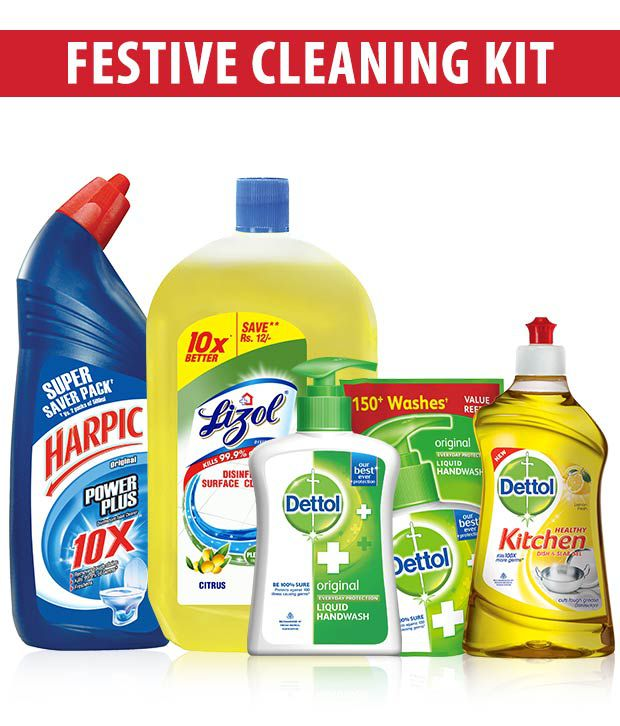 Cleaning kit- Harpic Original 1 Ltr+ Lizol Citrus 975ml + Dettol Handwash 200Ml & handwash free+ Dettol Kitchen Gel Lemon 400 Ml