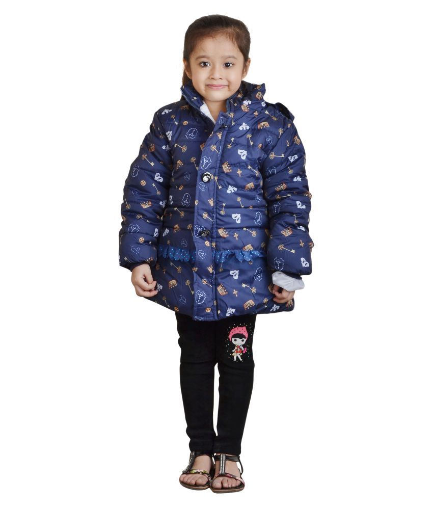 Crazeis Blue Girl's Full Sleeve Quilted and Bomber Jacket