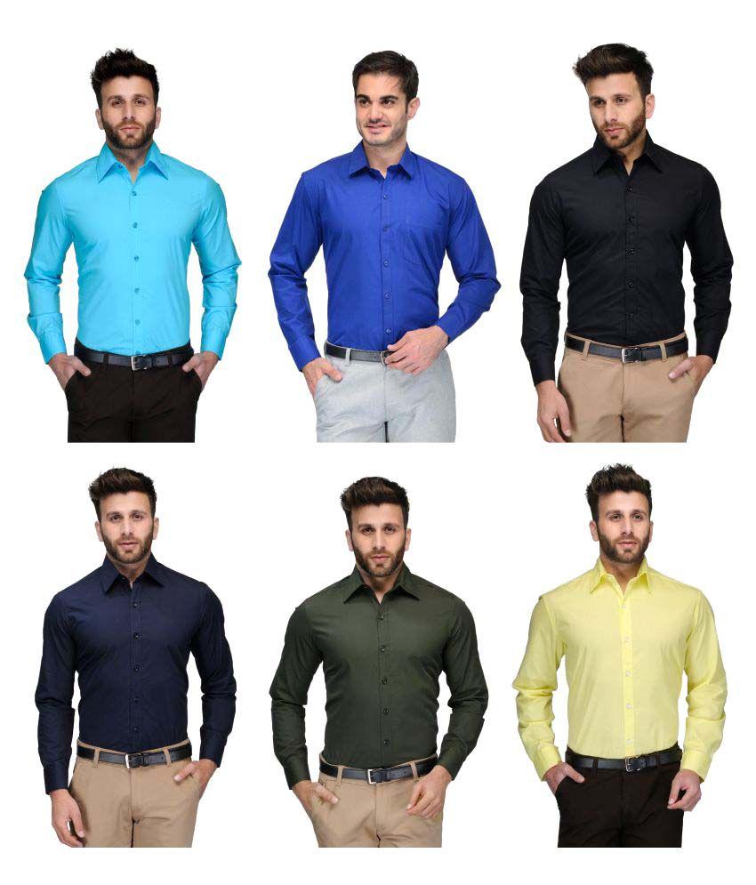 FOMTI Multi Casuals Slim Fit Shirt Pack of 6