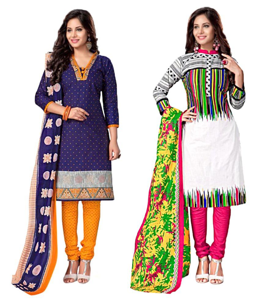 Sahari Designs Multicoloured Cotton Dress Material